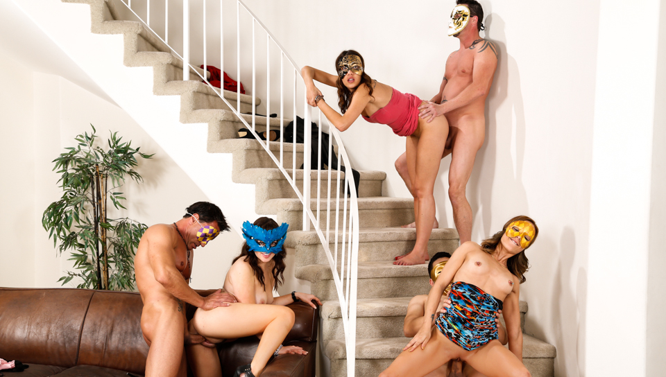 Horny Paris, Sophia, and Jenny put masks on and have a party