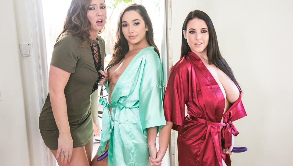 Maddy OReilly gets DPd by Angela White and Karlee Grey.