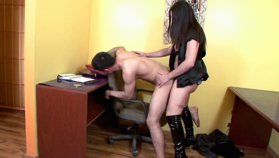 Tranny with leather boots gives guy a great ass fucking.