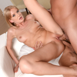 Blonde in miniskirt Bree Haze DP'd in 3some by two movers.