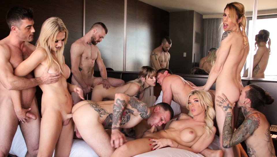 Aubrey Kate 3 other TS babes and 5 studs in a fuck fest