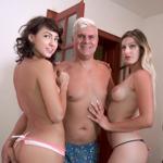 Alice and Suzy fucks Porno Dan until he skeets inside them