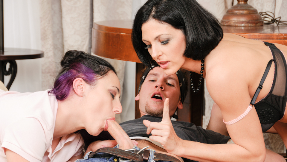 Sonya Sage & Roxanne Hall & Sonny Hicks - Mother And Daughter Cocksucking Contest #02