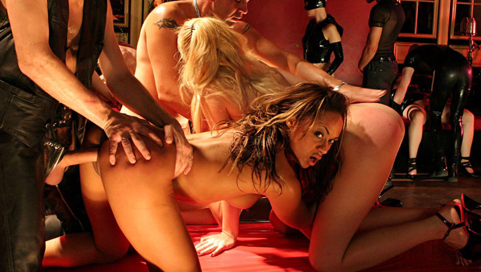 Big fetish orgy as multiple sluts get drenched in hot cum