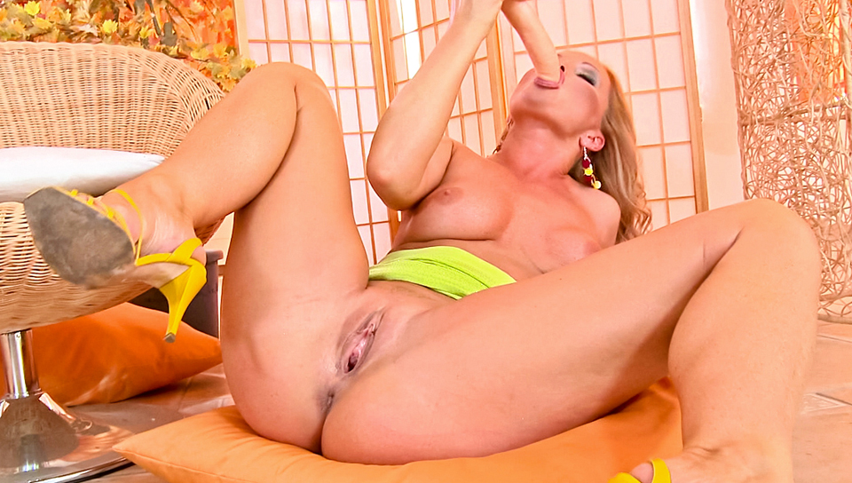 Silvia Saint massages her juicy pussy with her big dildo!