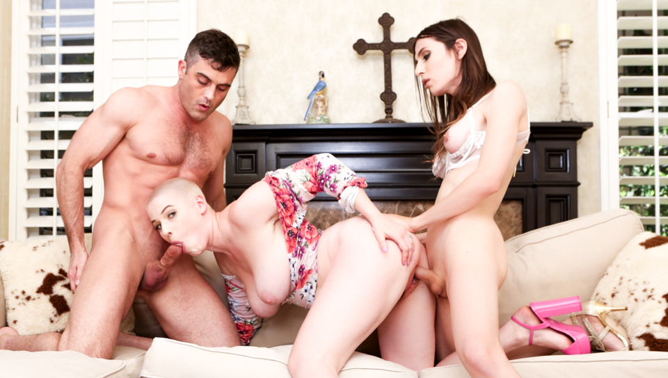 Sexy tranny has a hot threesome with Lance and Riley