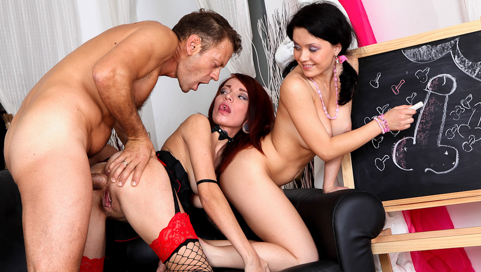 Rocco gets a nice anal threesome with 2 freakin' hot chicks