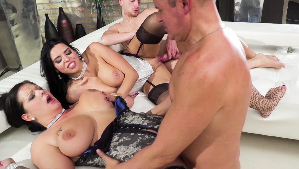 Two horny girls show their skills on Roccos live show
