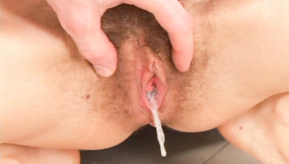 Loads of cum are ejected into hairy covered  pink pussies.