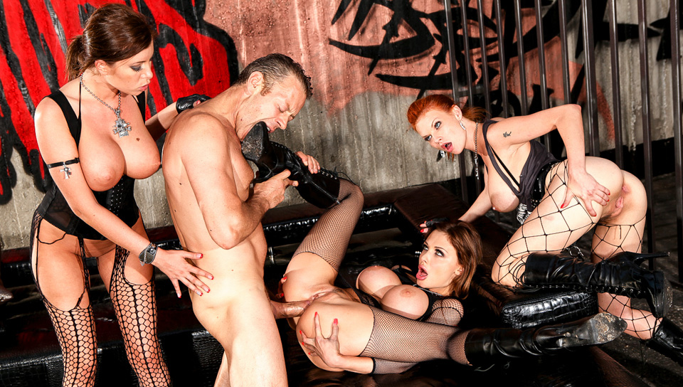 Rocco is a prisoner and fucks 3 gorgeous big tits rebels !