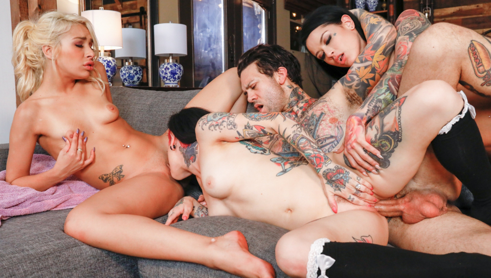 Joanna Angel group sex with babes and a hard stud