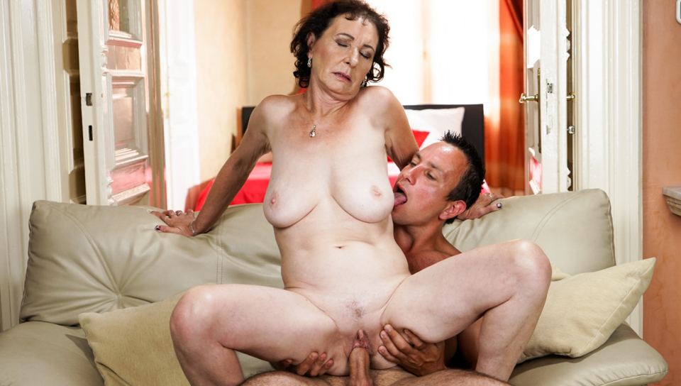 Lusty granny Pixie takes a young cock so hard