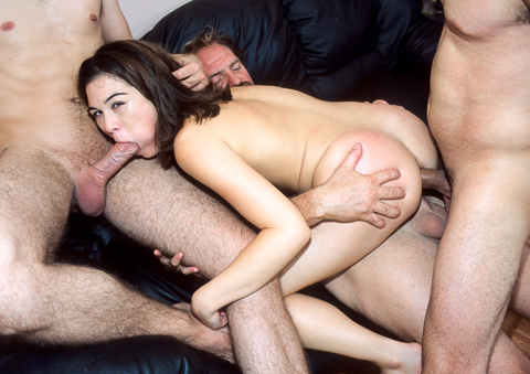 Ashley Blue is in the middle of a gang of cock and swallow!
