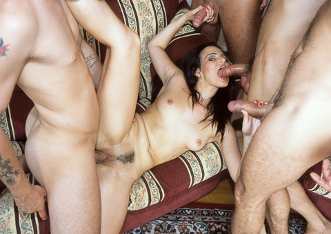 Vanessa Virgin loves to take multiple cock at the same time!