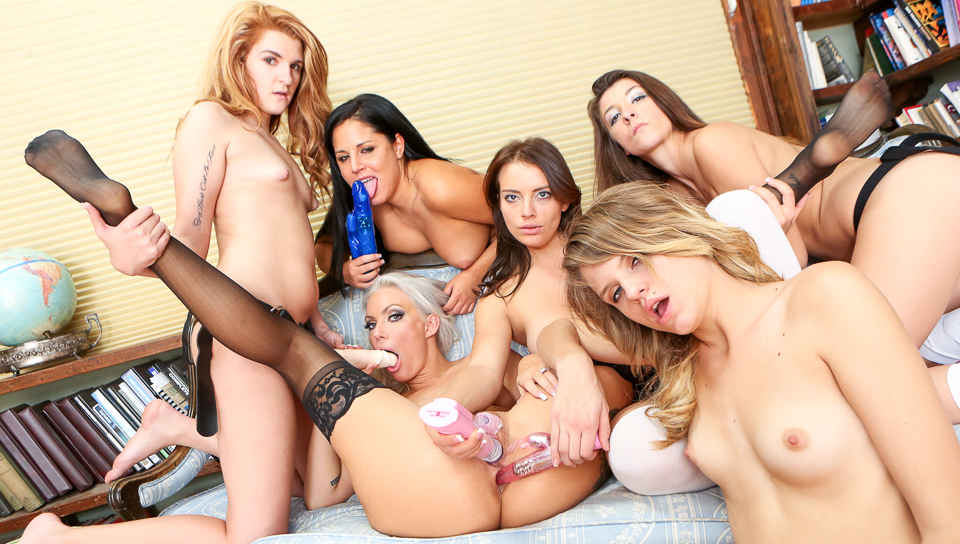 Sexy blonde teacher Savannah Snow with her nice students!