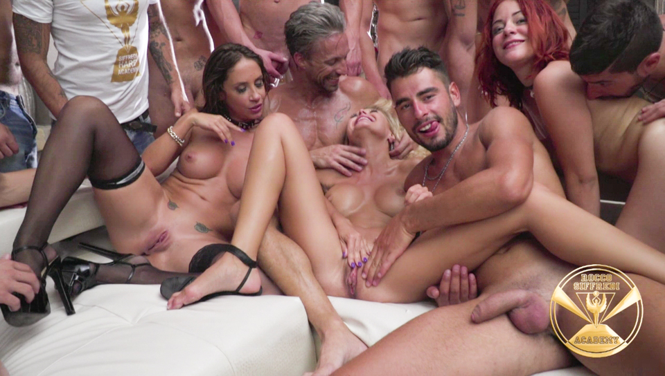Five hot babes in an intense italian fuck fest