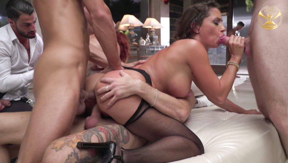 Hot orgy at Roccos Academy with four  starlets