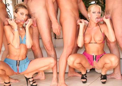 Two blondes invite group of guys for wild hardcore anal sex