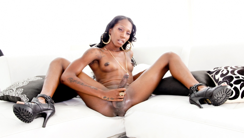 Tameka's hot body comes second as she reveals her long cock