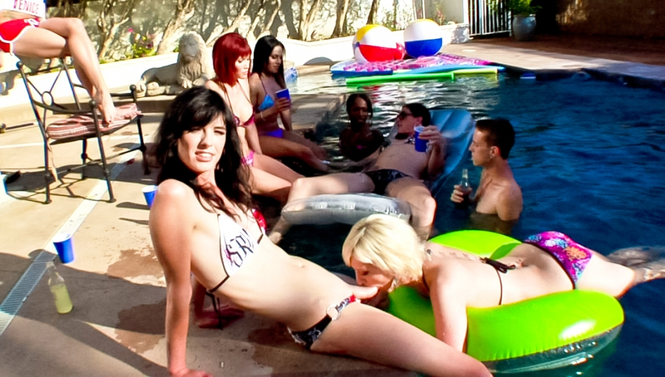 Cock sucking & ass fucking pool party in the TS playground!