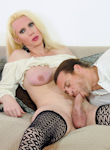 Chris danozamira  my girlfriend s giant penish 06  man gets make love by a lusty blond tgirl in fishnet stockings. Man gets make love by a exciting blond tranny in fishnet stockings
