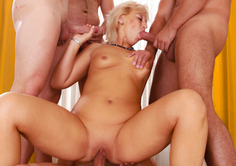 MILF massage turns into a raunchy 4-guy gangbang fuckfest!