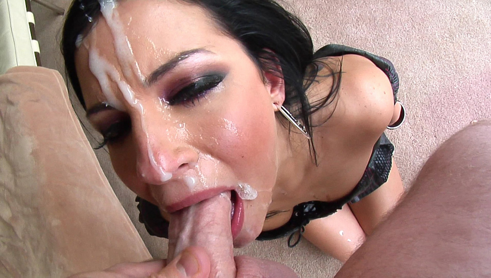 Mature blonde milf swallows a hard young cock before having her pussy pounded deep
